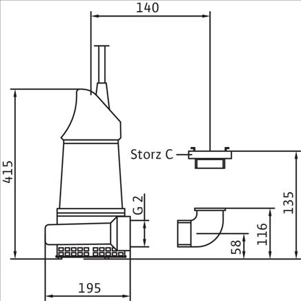 Габаритные размеры насоса Wilo KS 12 DS GG артикул: 6019450()