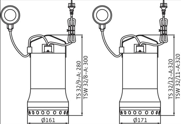 Габаритные размеры насоса Wilo TSW 32/8-A артикул: 6045166()