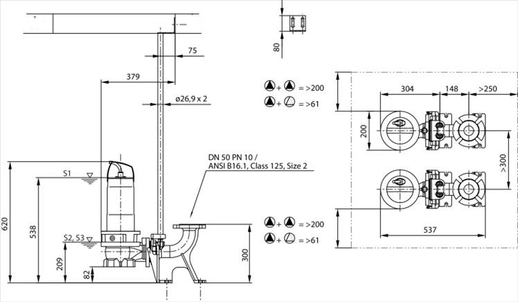 Габаритные размеры насоса Wilo REXA FIT V05DA-126/EAD0-2-M0015-523-A артикул: 6064584()