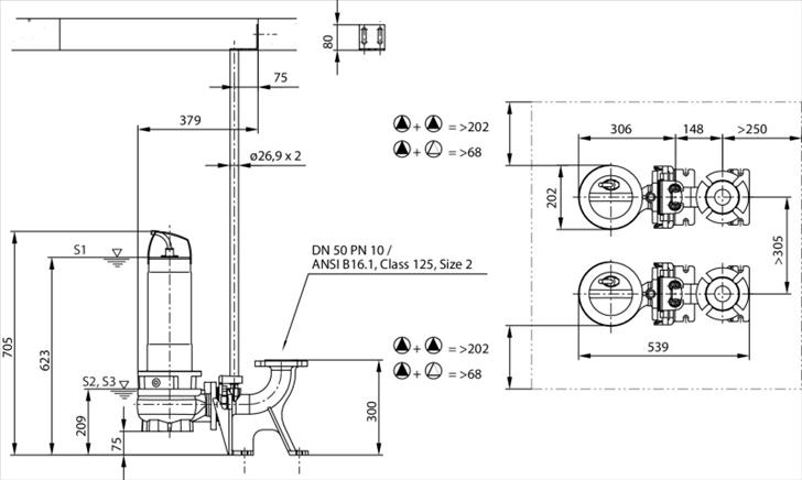 Габаритные размеры насоса Wilo REXA FIT V05DA-224/EAD1-2-T0025-540-A артикул: 6064590()