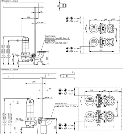 Габаритные размеры насоса Wilo REXA FIT V06DA-212/EAD1-2-T0011-540-A артикул: 6064597()