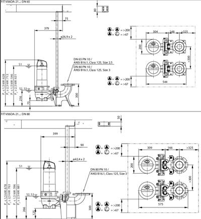 Габаритные размеры насоса Wilo REXA FIT V06DA-214/EAD0-2-M0015-523-A артикул: 6064700()