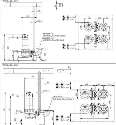 Габаритные размеры насоса Wilo REXA FIT V06DA-224/EAD1-2-T0039-540-A артикул: 6064708()