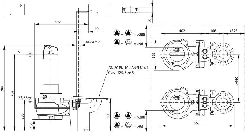 Габаритные размеры насоса Wilo REXA FIT V08DA-426/EAD1-4-T0015-540-O артикул: 6065928()