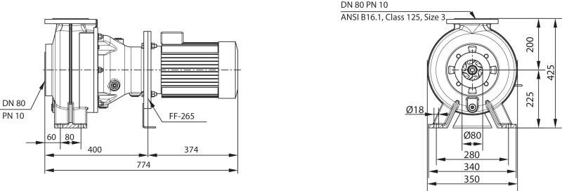 Габаритные размеры насоса Wilo REXA BLOC RE08.52W-250DAH132S4 артикул: 6073225((6077596))