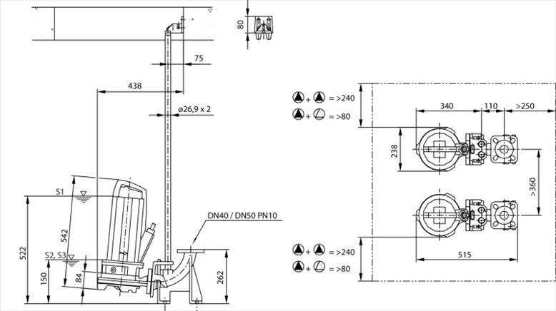 Габаритные размеры насоса Wilo REXA CUT GE03.34/P-T39-2-540X 20m артикул: 6079713()