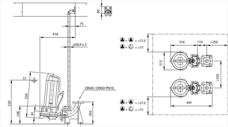 Габаритные размеры насоса Wilo REXA CUT GE03.25/P-T25-2-540X 20m артикул: 6079714()