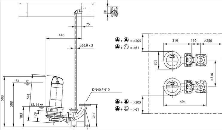 Габаритные размеры насоса Wilo REXA CUT GI03.31/S-T15-2-540 артикул: 6080483()