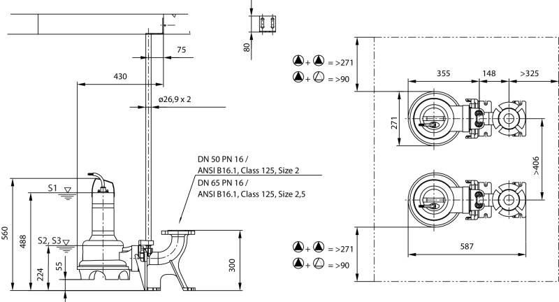 Габаритные размеры насоса Wilo REXA UNI V05/T04-540 артикул: 6082115()