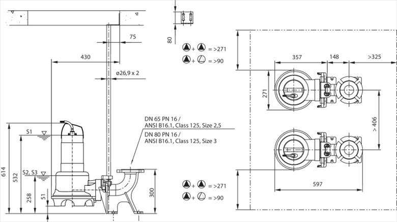 Габаритные размеры насоса Wilo REXA UNI V06/T25-540/A артикул: 6082146()