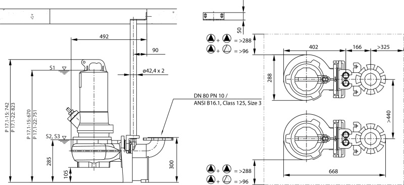 Габаритные размеры насоса Wilo REXA PRO V08DA-245/EAD0X2-T0105-540-O артикул: 6082822()