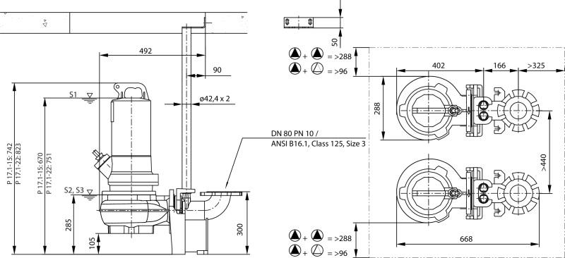 Габаритные размеры насоса Wilo REXA PRO V08DA-248/EAD0X2-T0105-540-O артикул: 6082824()