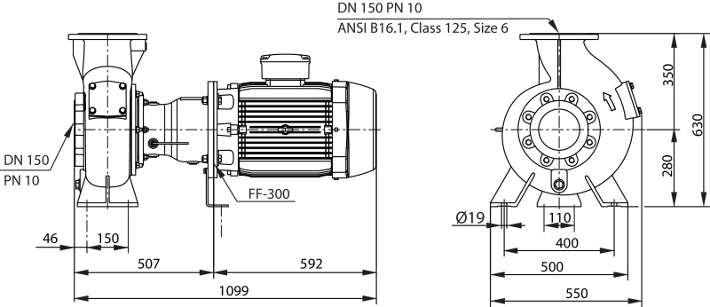 Габаритные размеры насоса Wilo REXA BLOC RE15.84D-260DAH180L4 артикул: 6085271((6079754))
