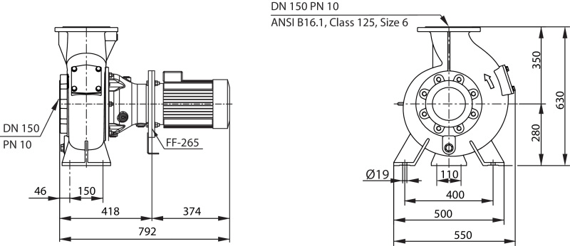 Габаритные размеры насоса Wilo REXA BLOC RE15.84D‐210DAH132S6 артикул: 6085277()