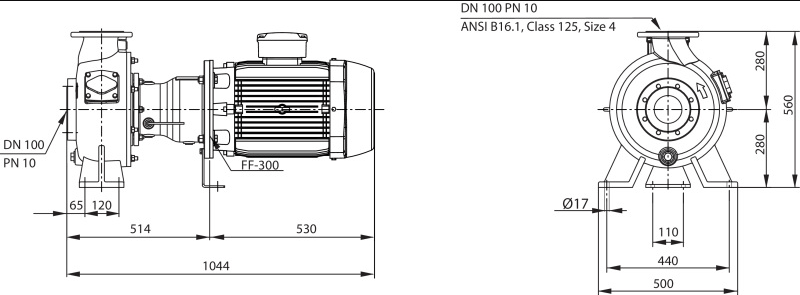 Габаритные размеры насоса Wilo REXA BLOC RE10.44W-245DAH160L4 артикул: 6085281((6079745))