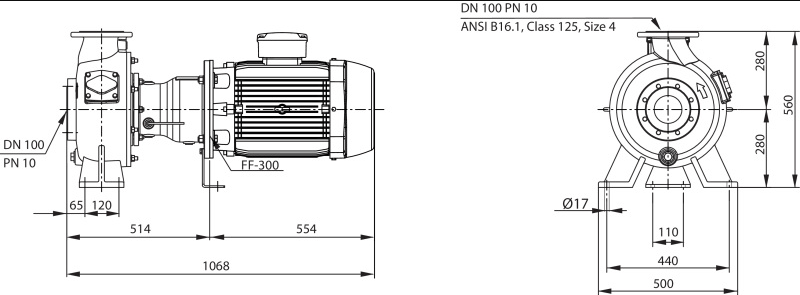 Габаритные размеры насоса Wilo REXA BLOC RE10.44W-260DAH180M4 артикул: 6085282((6079746))