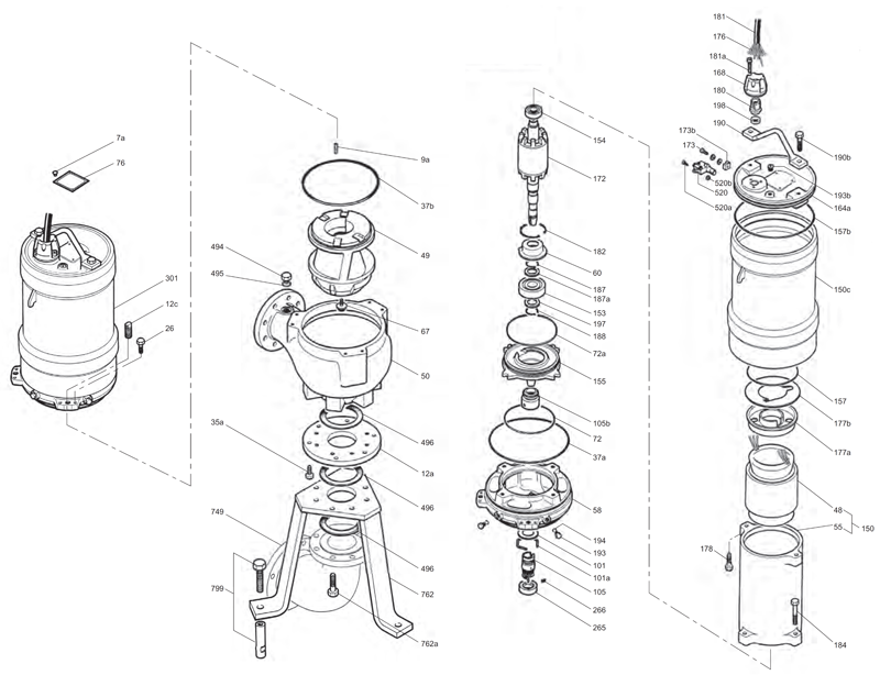 Деталировка насоса Grundfos SV034DHU648U артикул: 96844118